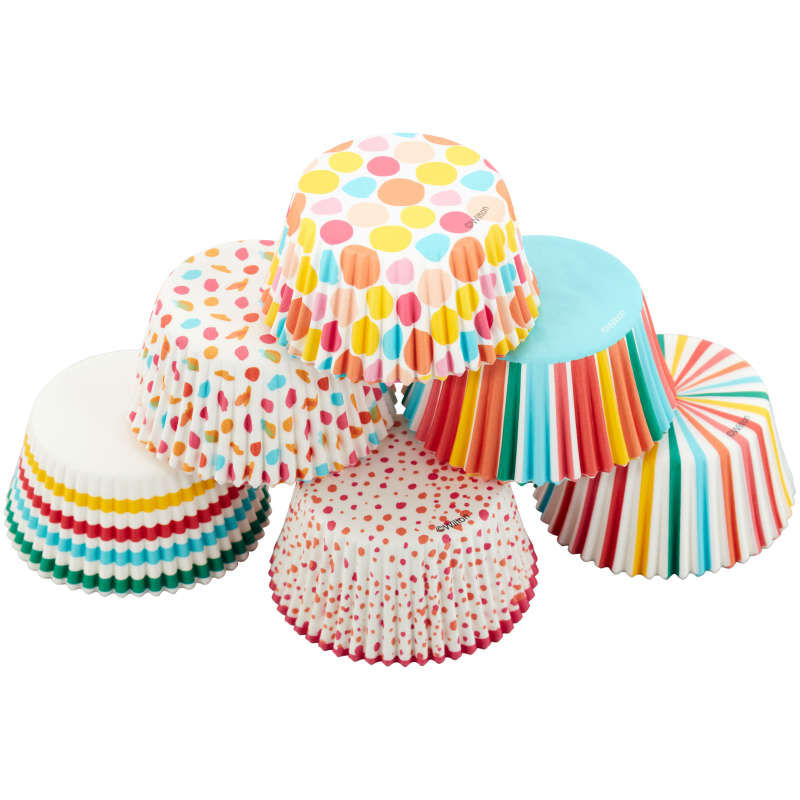 Rainbow, Striped and Polka Dot Standard Baking Cups, 150-Count image number 0