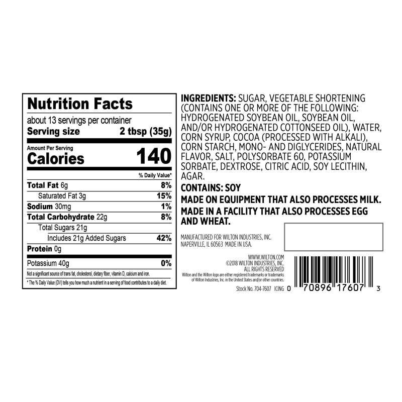 Naturally Flavored Rich Chocolate Frosting Nutrition Facts and Ingredients image number 1