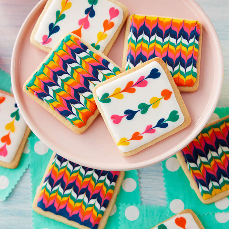 Colorful Square Royal Icing Cookies