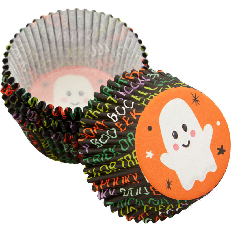 Whimsical Ghost Standard Halloween Cupcake Liners, 75-Count image number 3