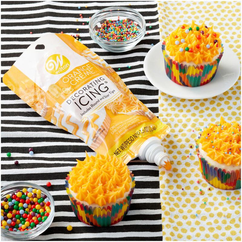 Orange Creme Decorating Icing Pouch with Tips, 7.5 oz. image number 2