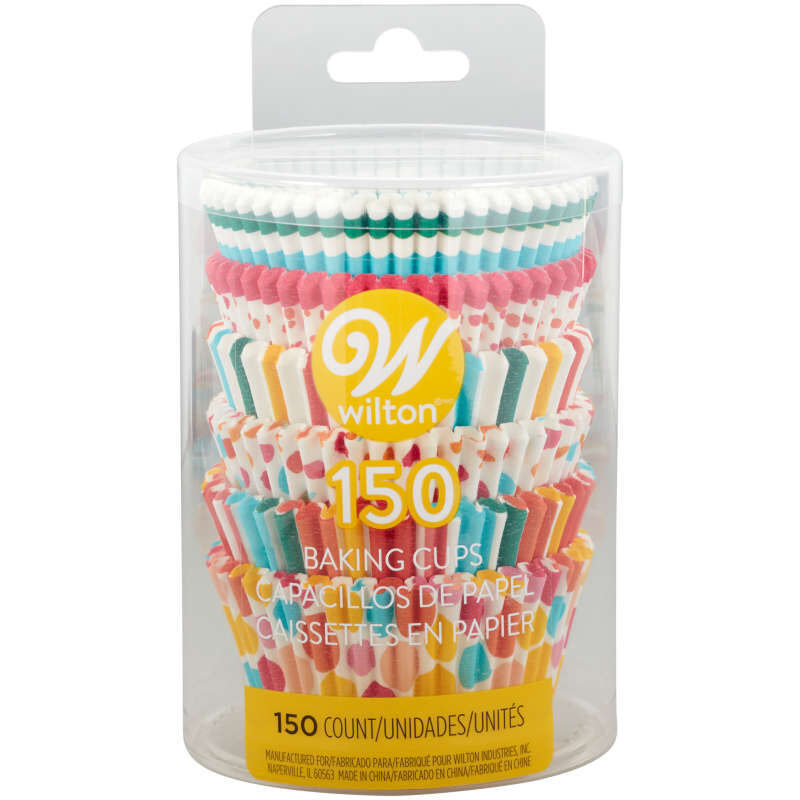 Rainbow, Striped and Polka Dot Standard Baking Cups, 150-Count image number 1