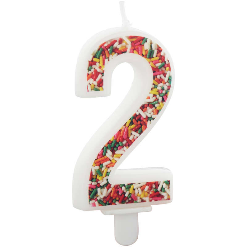 Sprinkle Pattern Number 2 Birthday Candle, 3-Inch image number 2