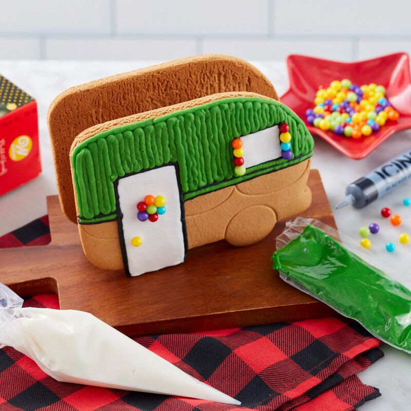 Build it Yourself Outdoor Adventures Ahead Gingerbread Camper Decorating Kit image number 3
