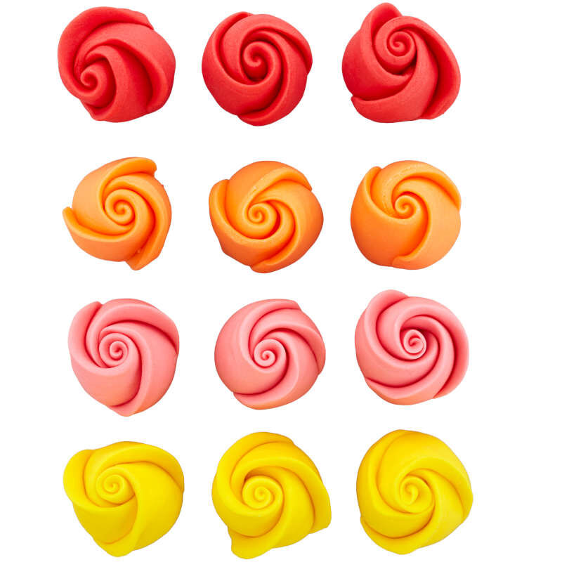 Red, Orange, Pink and Yellow Rose Royal Icing Decorations, 12-Count image number 1