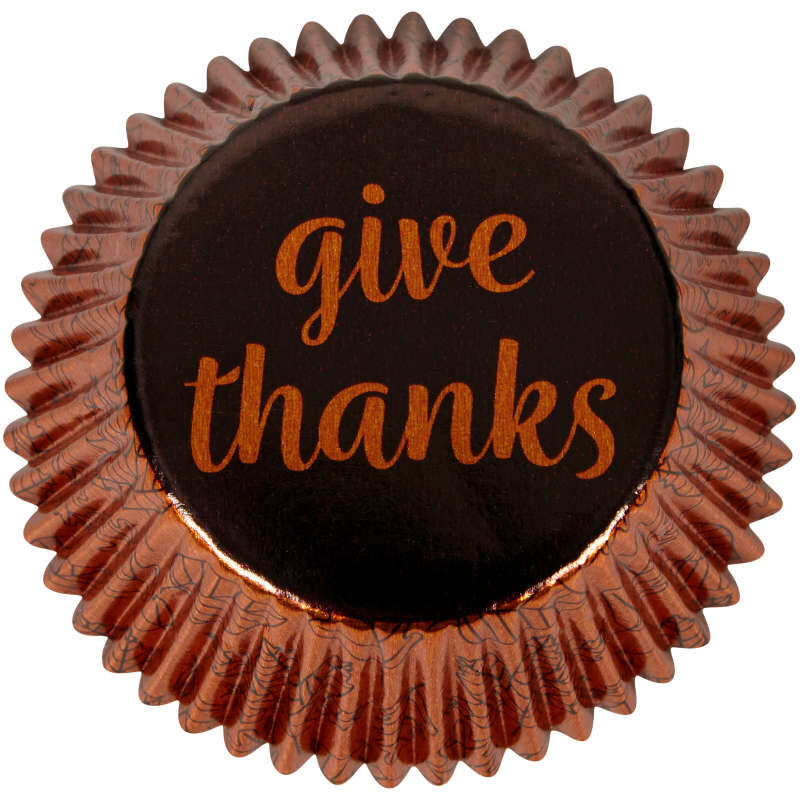 Give Thanks Foil Cupcake Liners, 24-Count image number 0