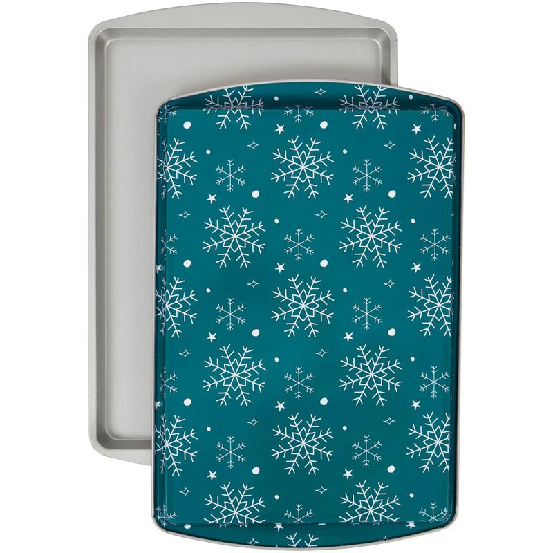 Bake and Bring Snowflake Print Non-Stick 9 x13 Cookie Sheet Set, 2-Count image number 0