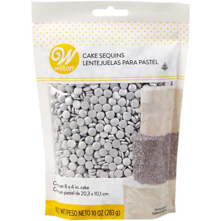 Silver Cake Sequins, 10 oz.