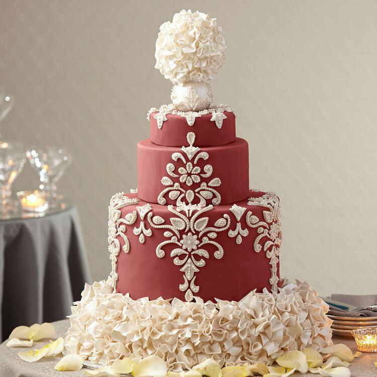 Elaborate Red and White Tiered Wedding Cake