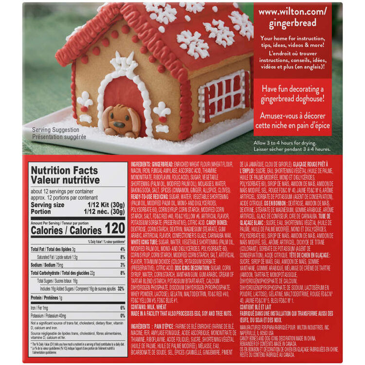Gingerbread Doghouse Kit Back of Packaging