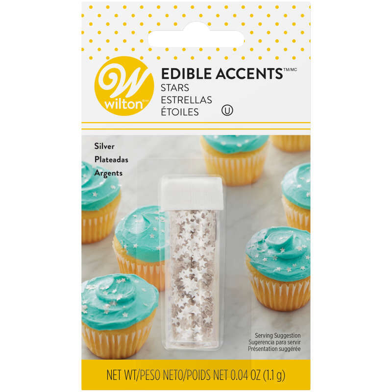 Edible Glitter Silver Stars, 0.04 oz. image number 0