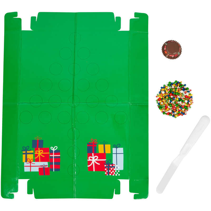 Christmas Tree Pull-Apart Mini Cupcake Decorating Kit, 2 oz. image number 0
