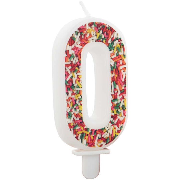 Sprinkle Pattern Number 0 Birthday Candle, 3-Inch