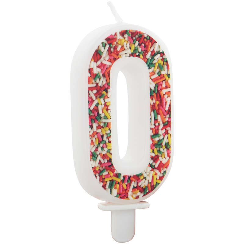 Sprinkle Pattern Number 0 Birthday Candle, 3-Inch image number 2