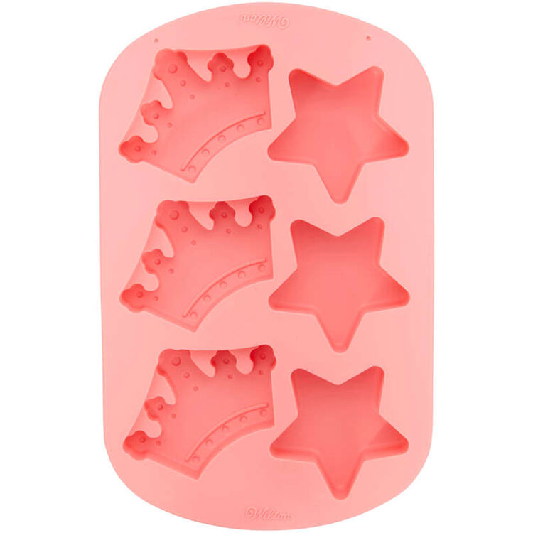 Royal Crowns and Stars Silicone Cake Mold, 6-Cavity