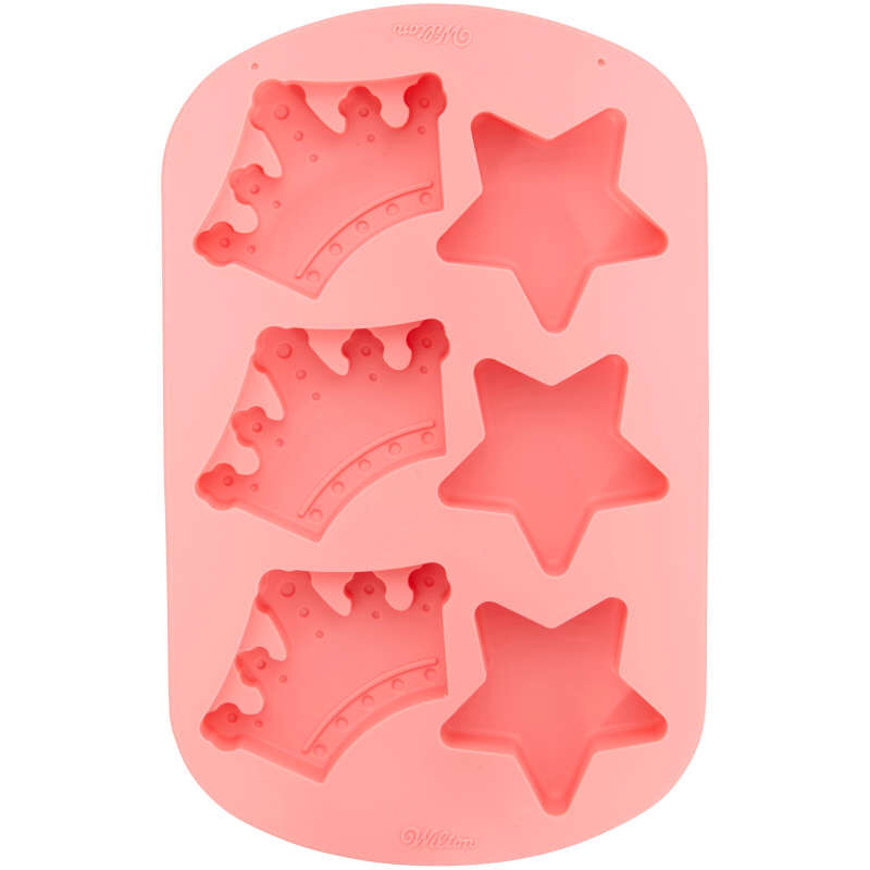 Royal Crowns and Stars Silicone Cake Mold, 6-Cavity image number 0