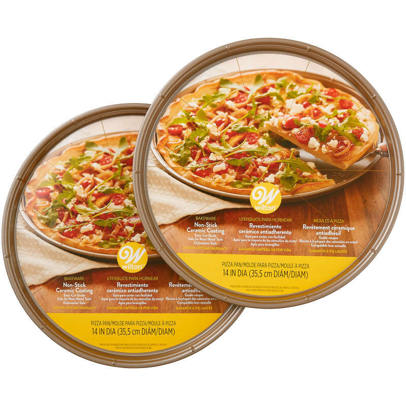 Ceramic-Coated Non-Stick 14-Inch Pizza Pans (2 Pack), Ceramic Pizza Pan Set image number 1