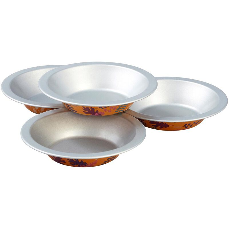 Bake and Bring Autumn Print Mini Non-Stick Pie Pans, 4-Count image number 0