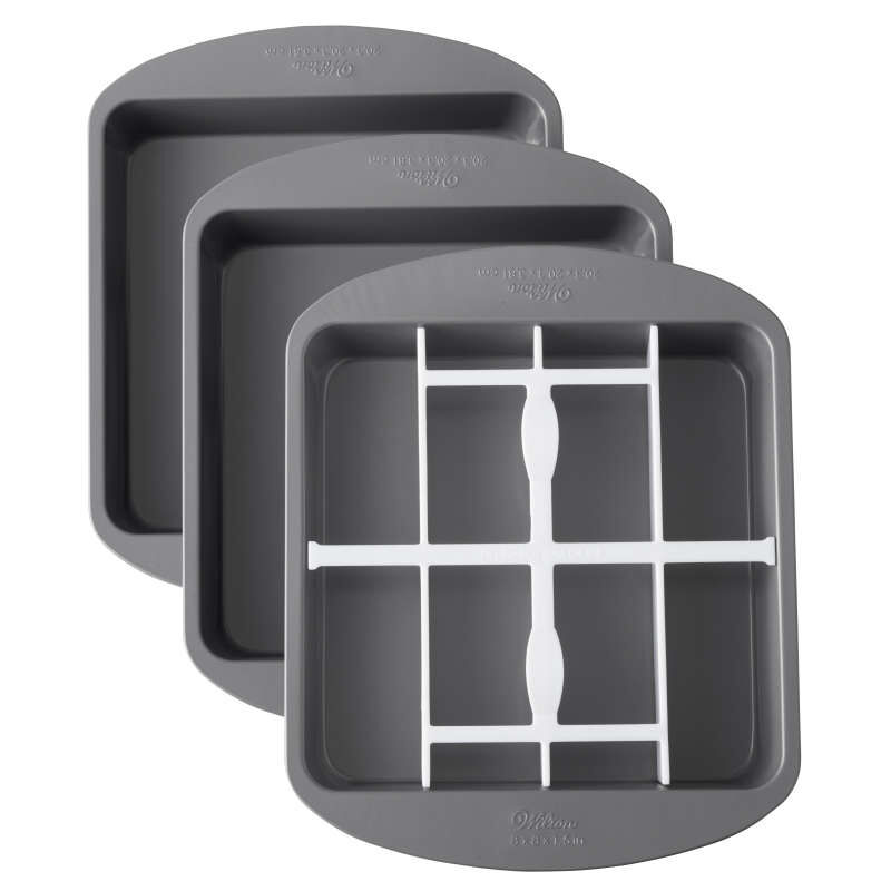 Square Rainbow Checkerboard Cake Pan, 4 Piece Set image number 0