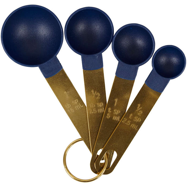 Navy Blue and Gold Kitchen Utensils Mix and Measure Set, 10-Piece