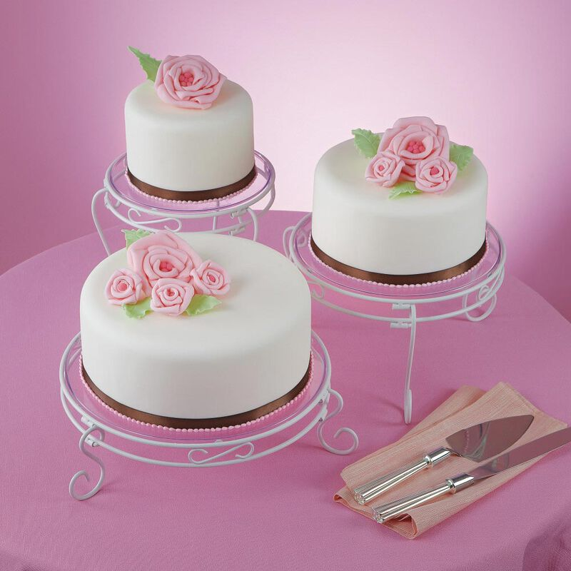 White Scrolled Cake and Dessert Stand Set - Wedding Cake Display image number 1
