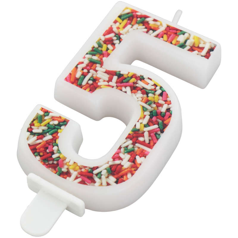 Sprinkle Pattern Number 5 Birthday Candle, 3-Inch image number 1