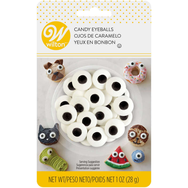 Large Edible Black and White Candy Eyeball Sprinkles, 1 oz. image number 1