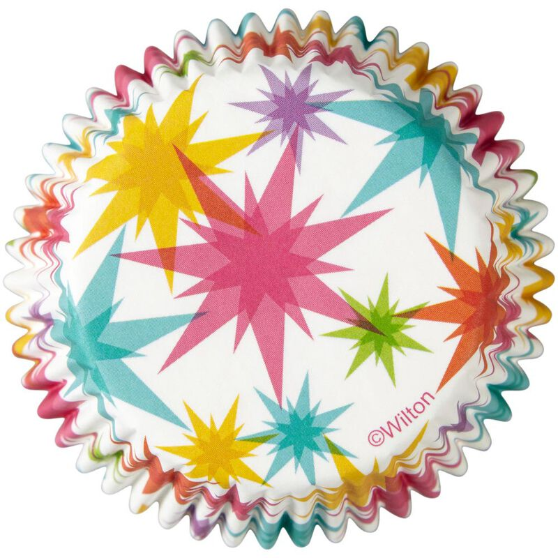 Multicolor Starburst Cupcake Liners, 50-Count image number 0