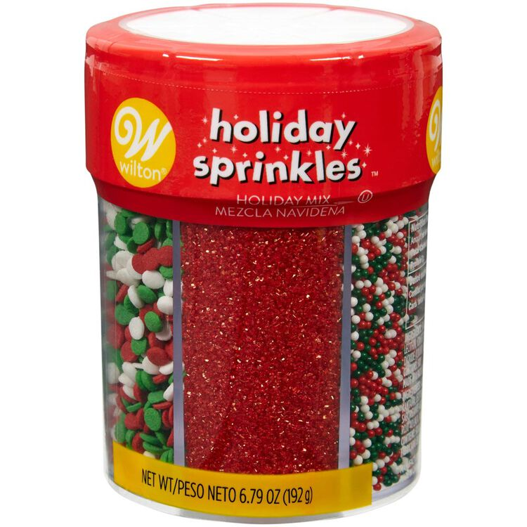 Red, Green and White Holiday 6-Cell Sprinkles Mix, 6.79 oz.