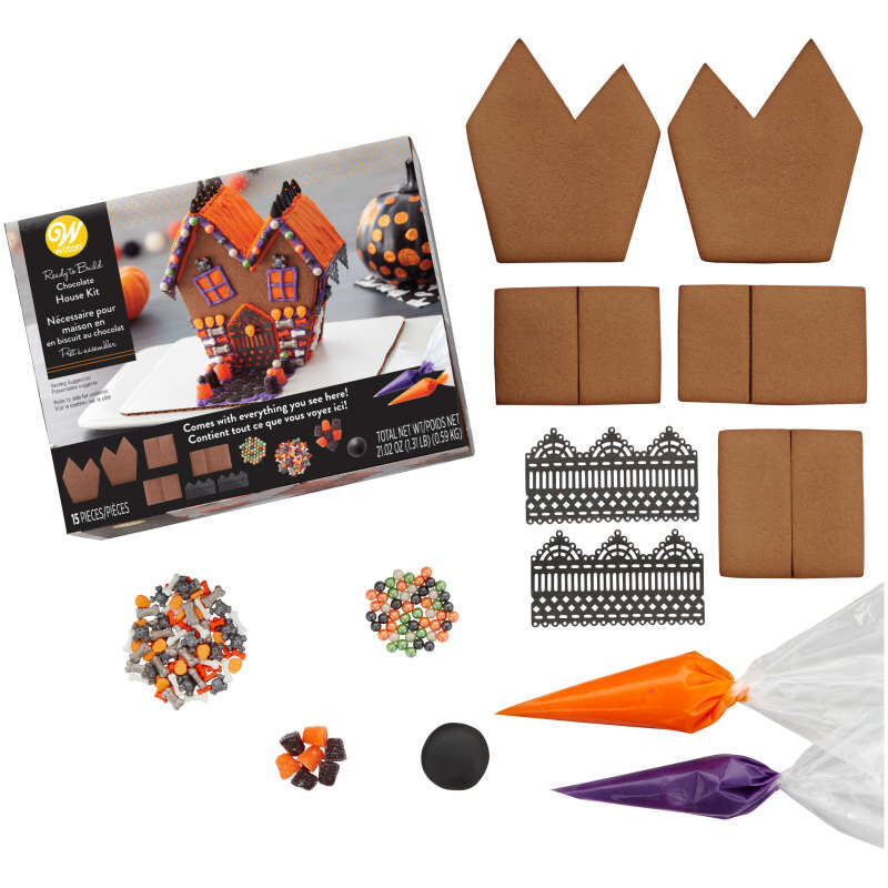 Ready-to-Build Chocolate Cookie Haunted House Kit, 15-Piece image number 1