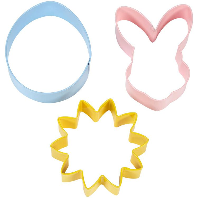 Easter Flower, Bunny and Egg Metal Cookie Cutter Set, 3-Piece