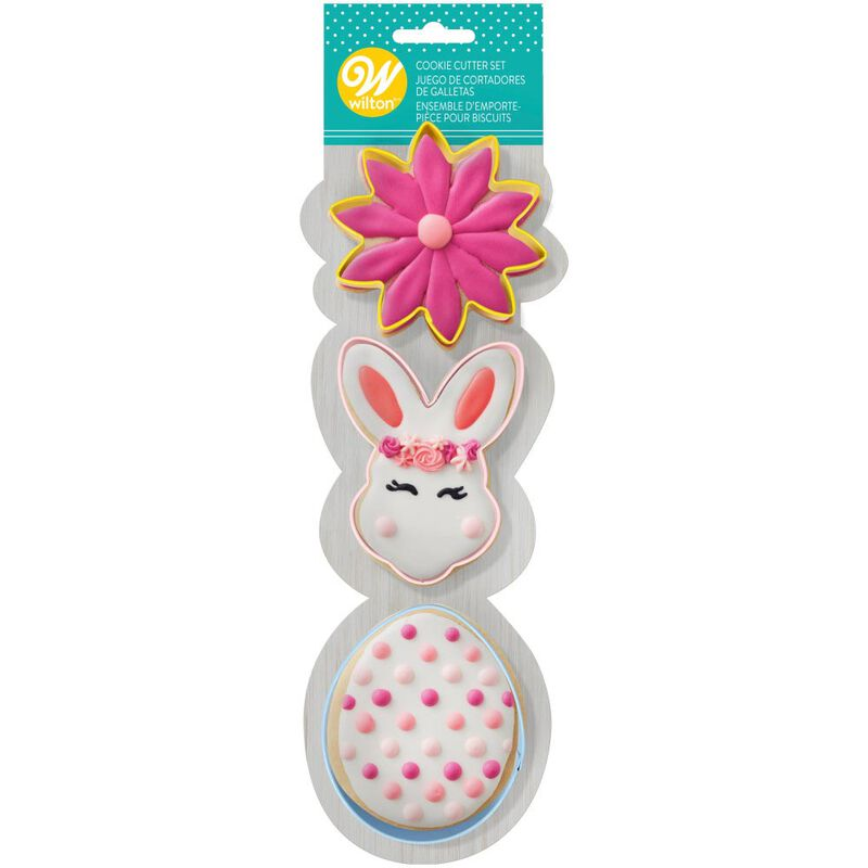 Easter Flower, Bunny and Egg Metal Cookie Cutter Set, 3-Piece image number 1