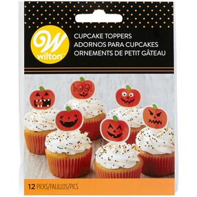 Jack-O'-Lantern Cupcake Toppers, 12-Count