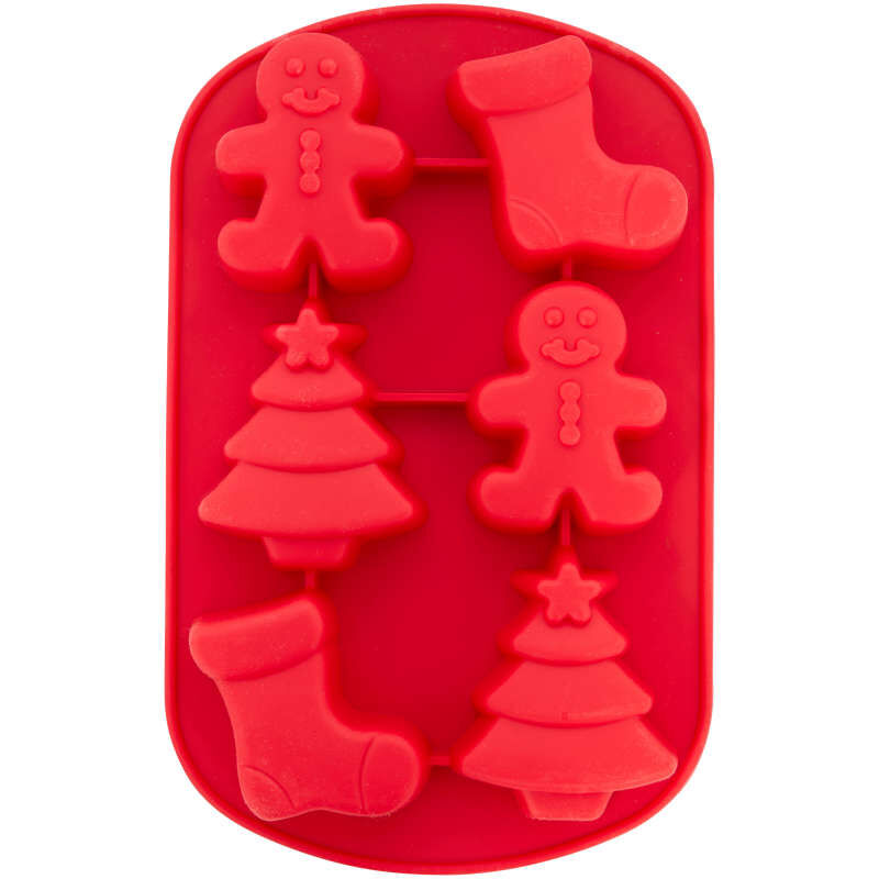 Christmas Shapes Silicone Treat Mold, 6-Cavity image number 1
