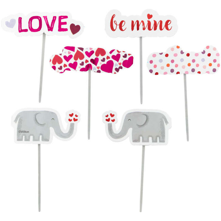 Valentine's Day Elephant Cupcake Toppers, 12-Count