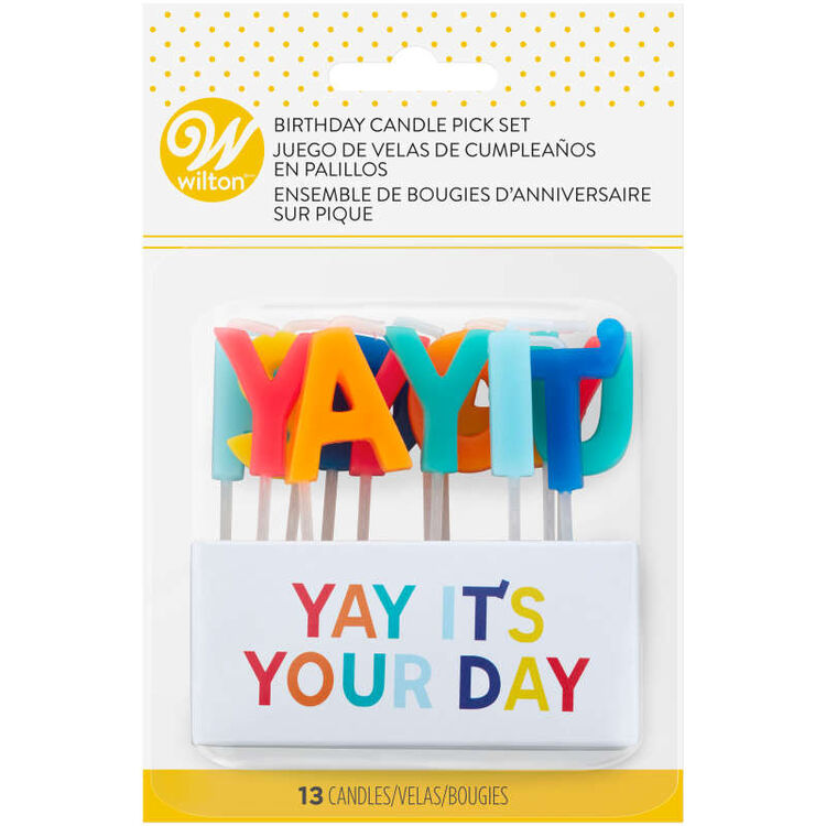 """""""Yay It's Your Day"""" Birthday Candle Pick Set, 13-Count"""
