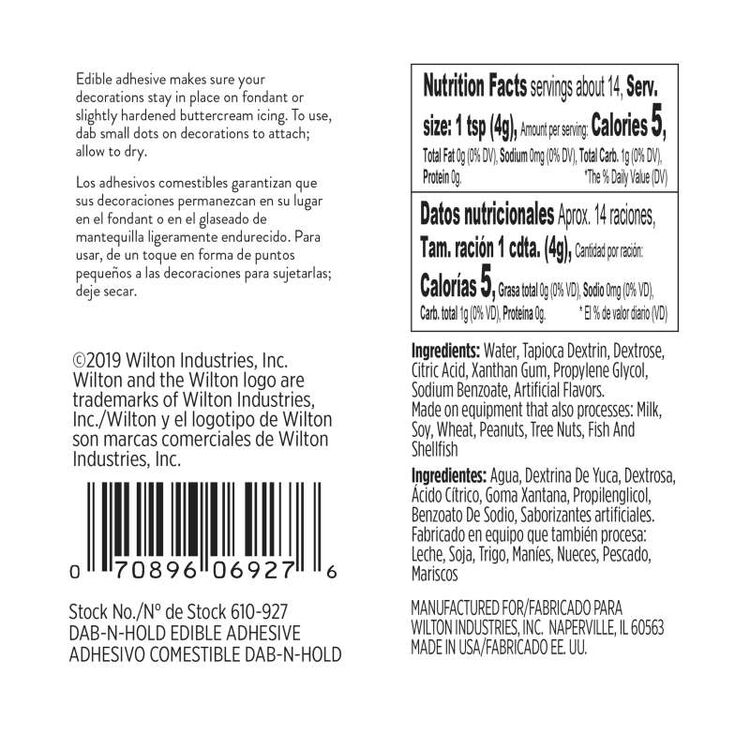Dab N Hold Edible Adhesive Nutrition Facts and Ingredients Statement