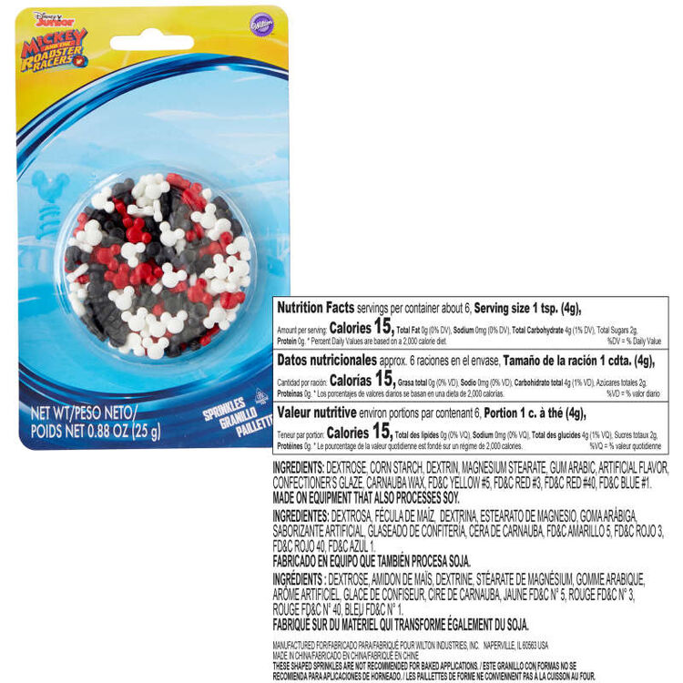 Mickey and the Roadster Racers Sprinkles Nutrition Facts and Ingredients
