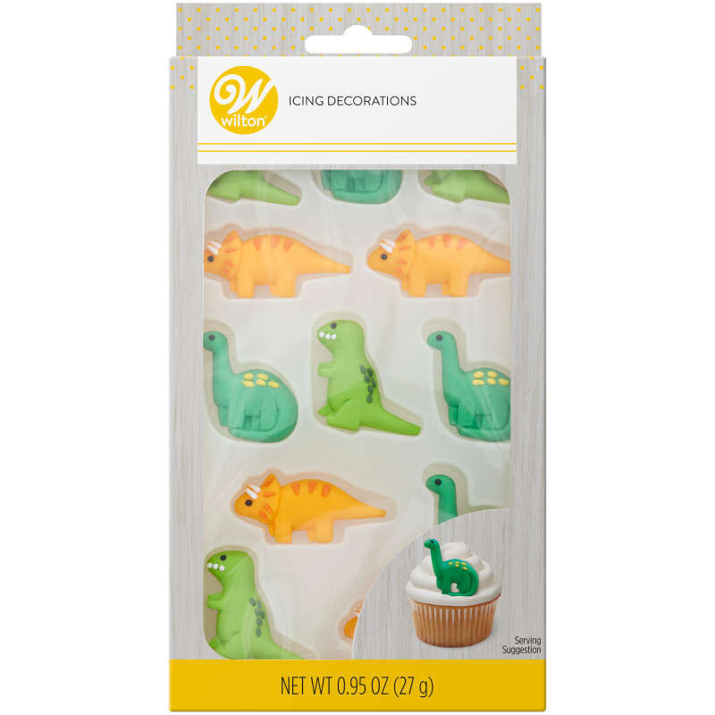 Green and Orange Dinosaur Royal Icing Decorations, 12-Count image number 0