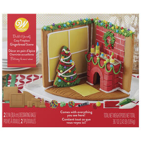 Build-it-Yourself Cozy Fireplace Gingerbread Scene Decorating Kit