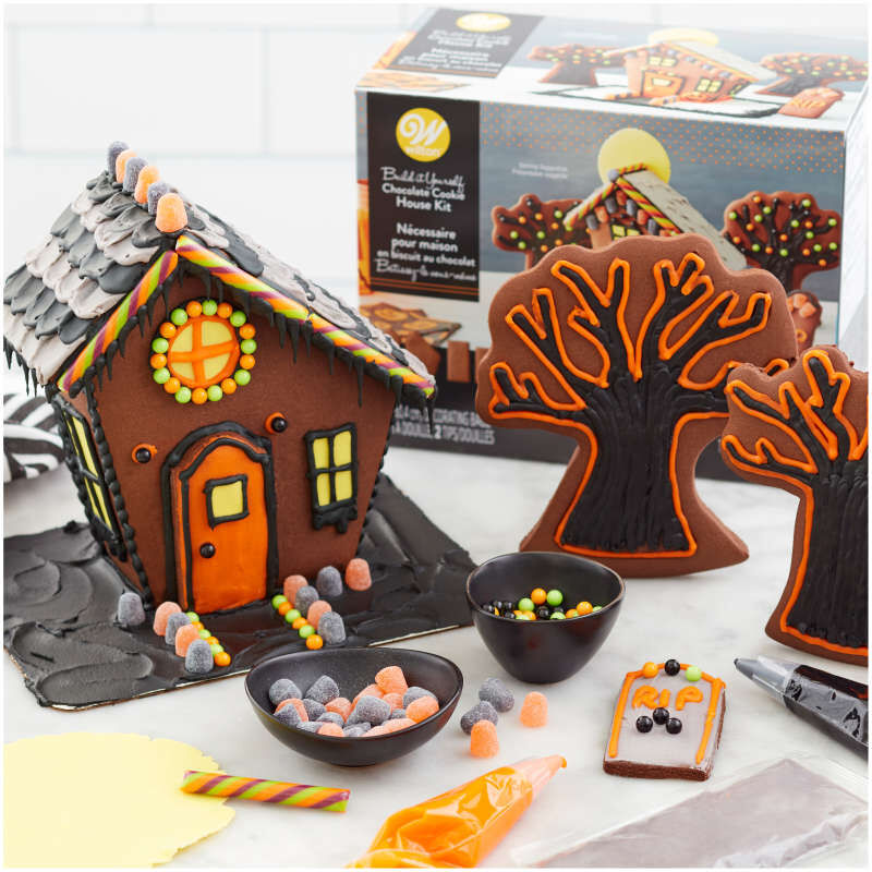 Build It Yourself Chocolate Cookie Halloween House Decorating Kit image number 3
