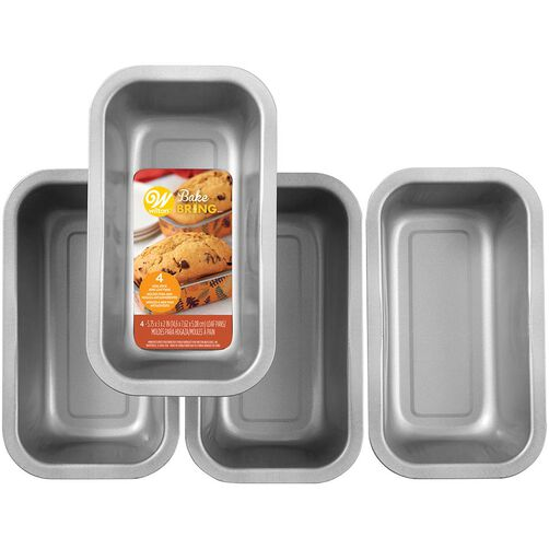 Bake and Bring Autumn Print Non-Stick Mini Loaf Pans, 4-Count