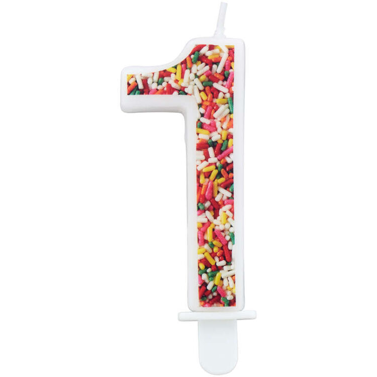 Sprinkle on the Birthday Fun Number 1 Birthday Candle