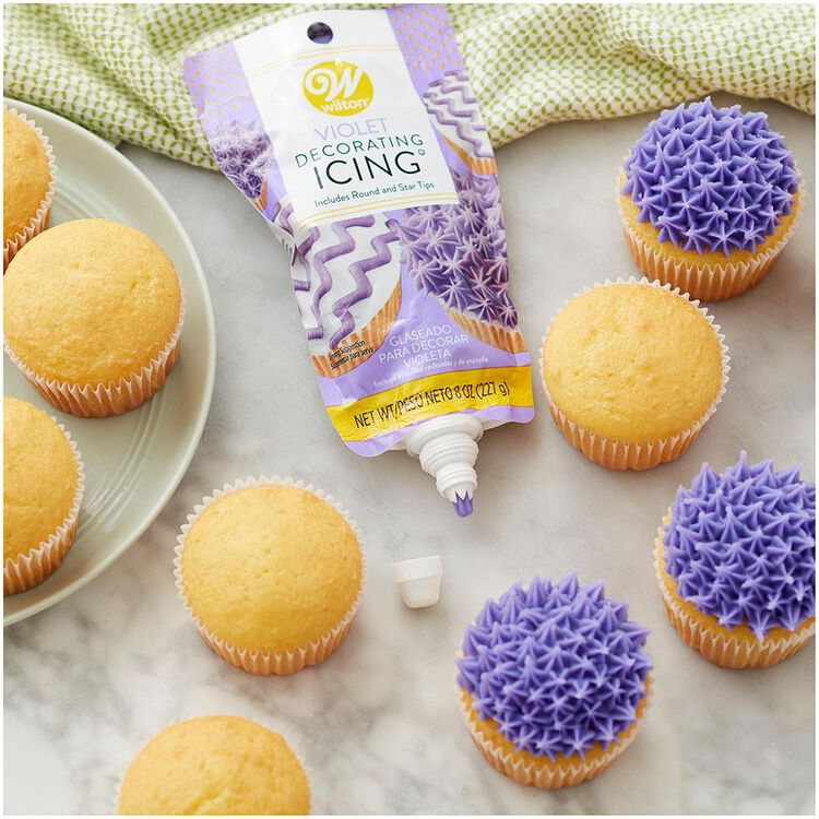 Purple Icing Pouch with Tips, 8 oz.
