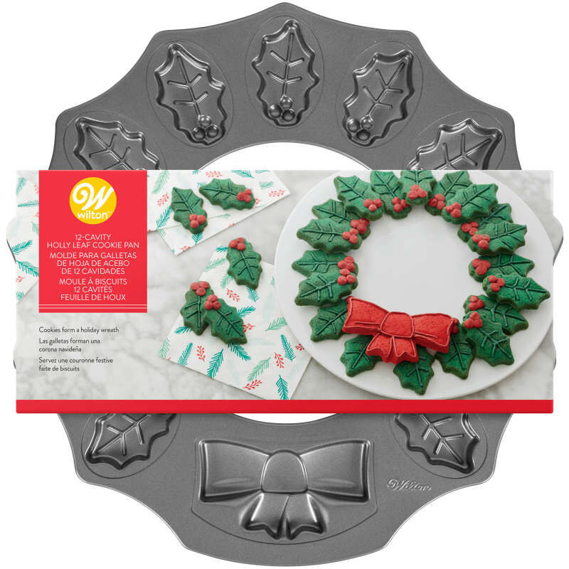 Non-Stick Holly Wreath Shaped Cookie Pan, 12-Cavity image number 2