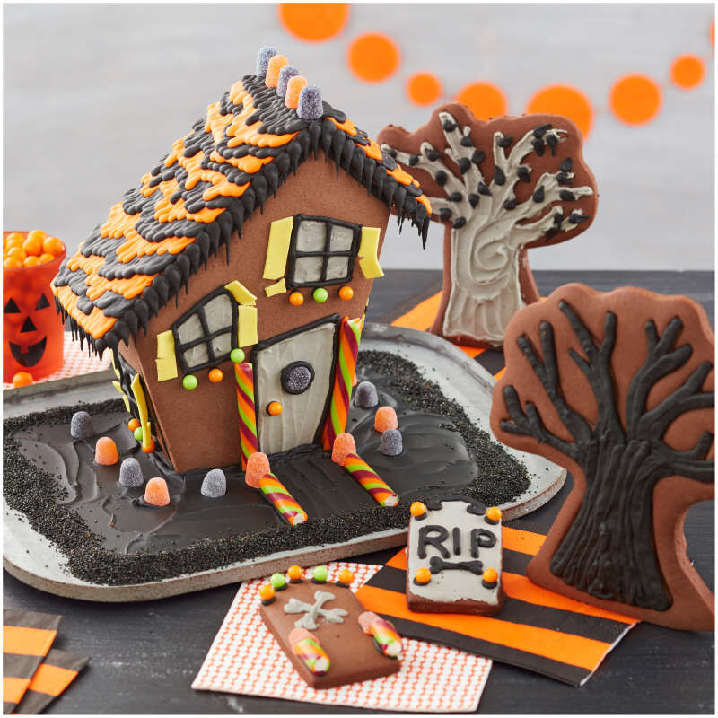 Build It Yourself Chocolate Cookie Halloween House Decorating Kit image number 4
