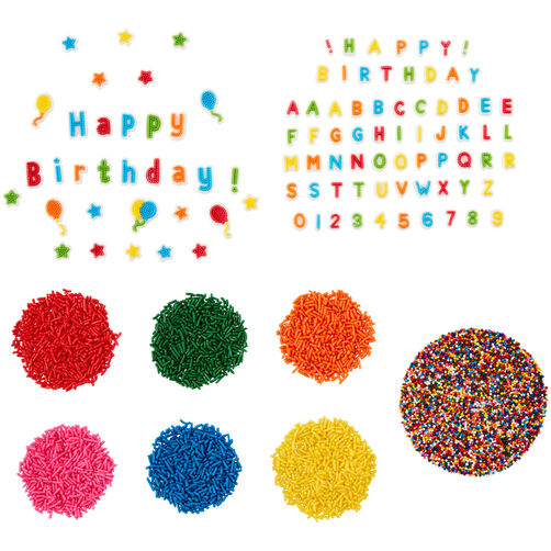 Birthday Treat Topper Set, 4-Piece, features Happy Birthday and number/letter icing decorations, rainbow sprinkles, and rainbow jimmies sprinkles