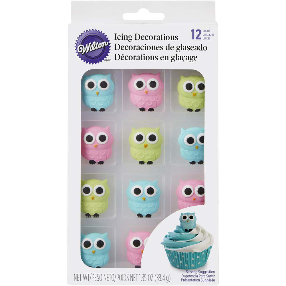 Wilton Owl Edible Icing Decorations Zoom