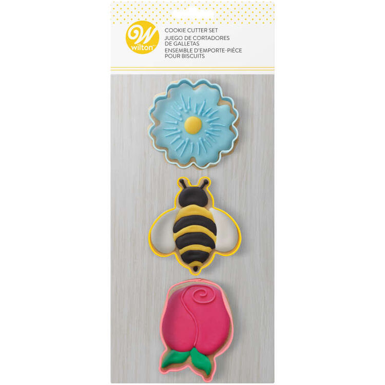 Daisy, Bumblebee and Tulip Spring Cookie Cutter Set, 3-Piece