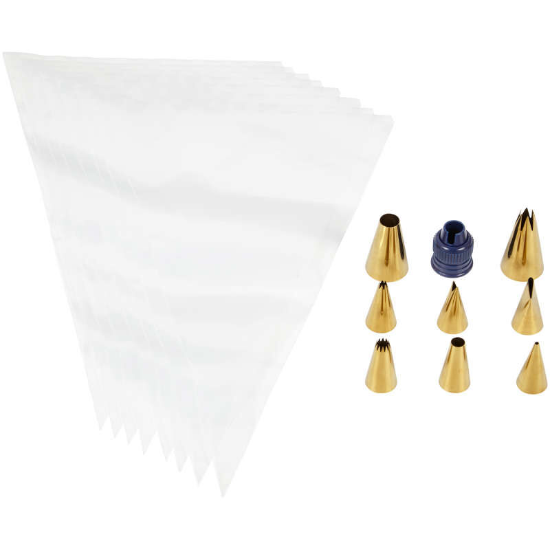 Navy Blue and Gold Piping Tips and Cake Decorating Supplies Set, 17-Piece image number 3